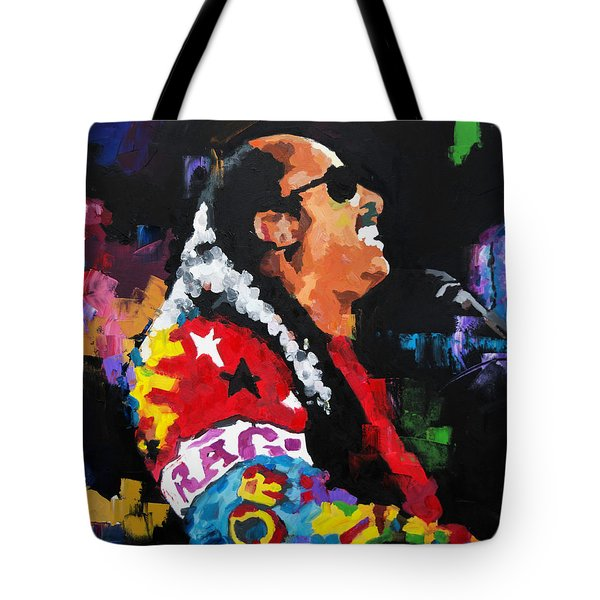 Tote Bag featuring the painting Stevie Wonder Live by Richard Day