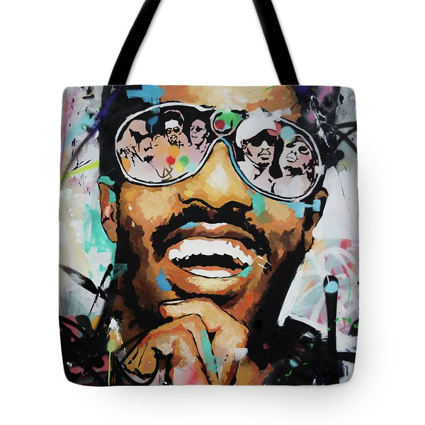 Tote Bag featuring the painting Stevie Wonder Portrait by Richard Day