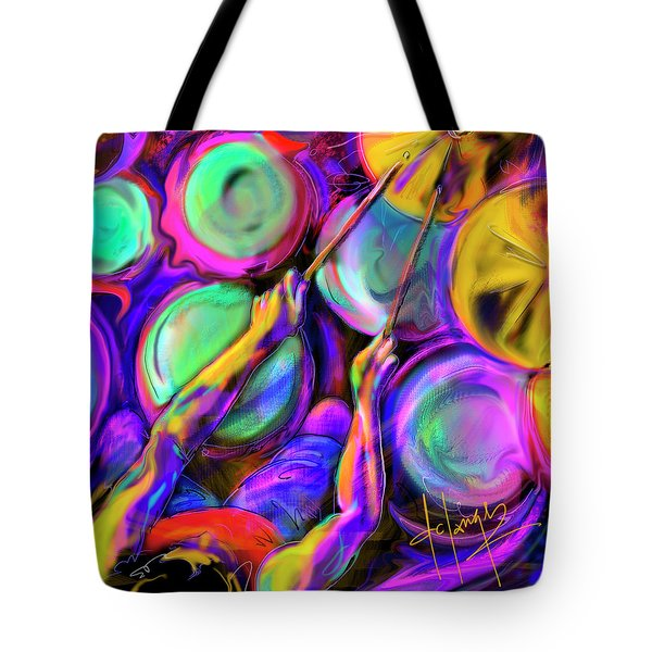 Tote Bag featuring the painting Sticks And Skins by DC Langer