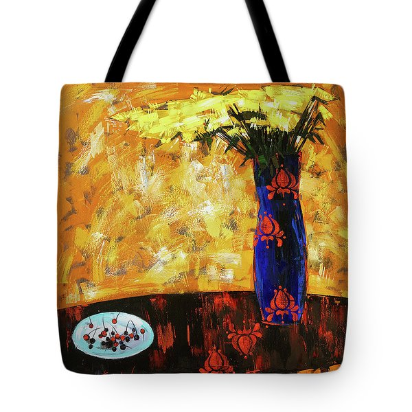 Tote Bag featuring the painting Still Life. Cherries For The Queen by Anastasija Kraineva