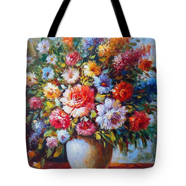 Still Life Colourful Flowers In Bloom Tote Bag