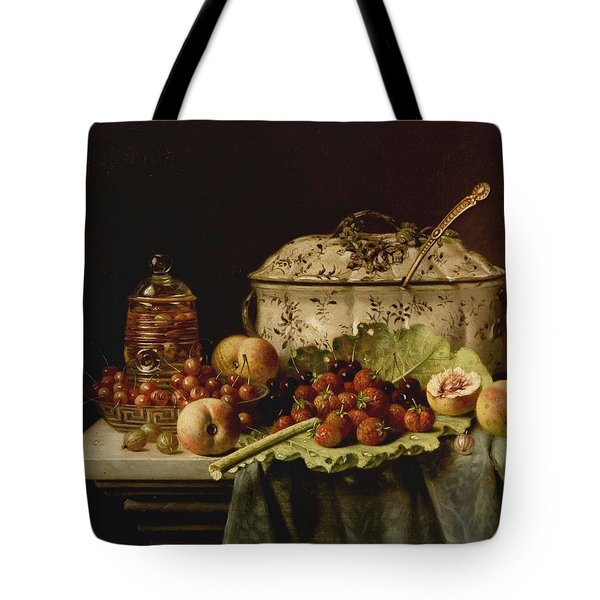 Still Life  Fruit And Dishes  Late 19th Century Oil On Panel Gottfried Schultz  German  1842  1919 Tote Bag