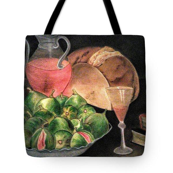 Still Life Of Figs, Wine, Bread And Books Tote Bag