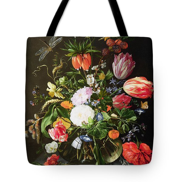 Still Life Of Flowers Tote Bag by Jan Davidsz de Heem