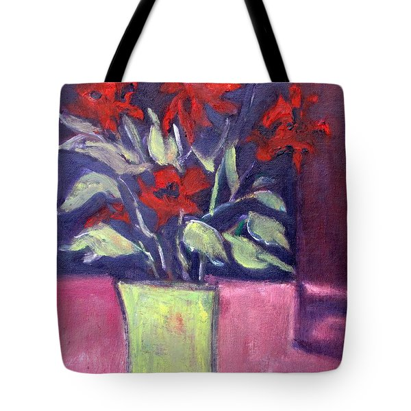 Still Life Of Red Flowers In Yellow Jug Tote Bag by Betty Pieper