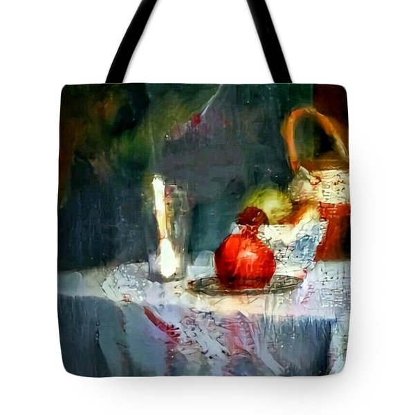 Still Life Oil Painting Table With Pomegranate Ceramic Kettle Glass Knife And Bowl Of Fruit Pears Linen Sketch Painting Life Drawing Tote Bag by MendyZ