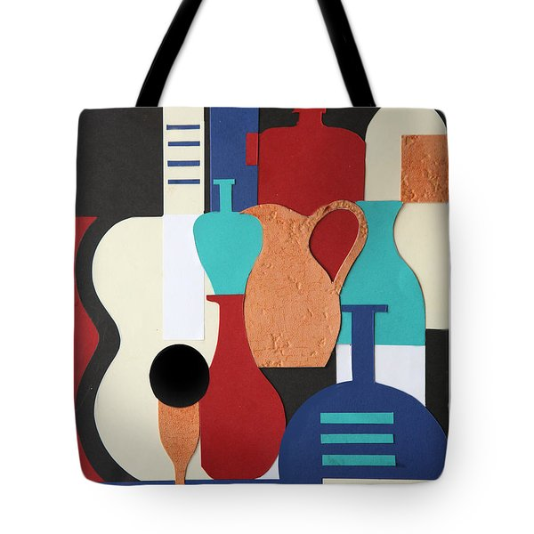 Still Life Paper Collage Of Wine Glasses Bottles And Musical Instruments Tote Bag by Mal Bray