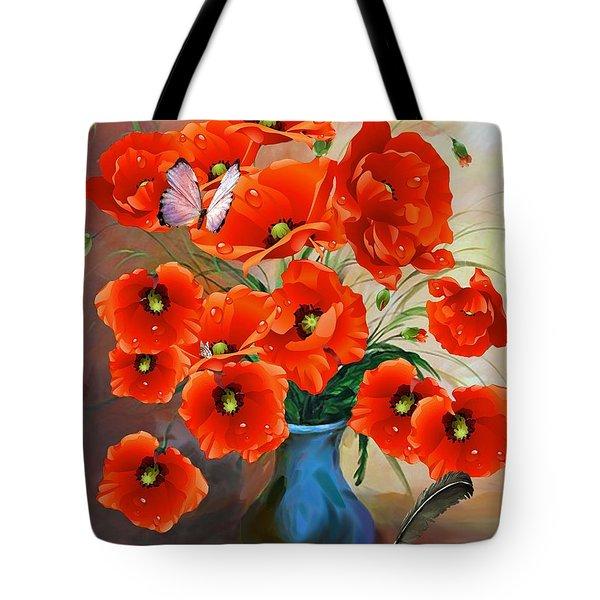 Still Life Poppies Tote Bag
