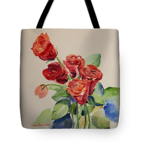 Tote Bag featuring the painting Still Life Red Roses by Geeta Biswas