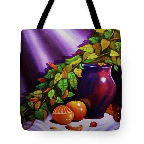 Still Life W/purple Vase Tote Bag