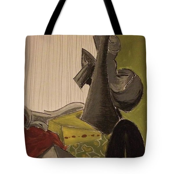 Still Life With A Black Horse- Cubism Tote Bag by Manuela Constantin