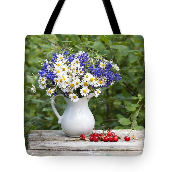 Still-life With A Bouquet Of Wildflowers Tote Bag by Olga Streikmane