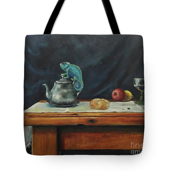 Still Life With A Chameleon Tote Bag