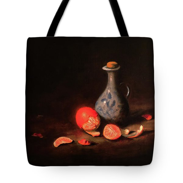 Tote Bag featuring the painting Still Life With A Little Dutch Jug by Barry Williamson