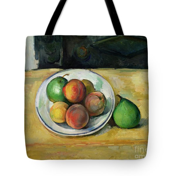 Still Life With A Peach And Two Green Pears Tote Bag by Paul Cezanne