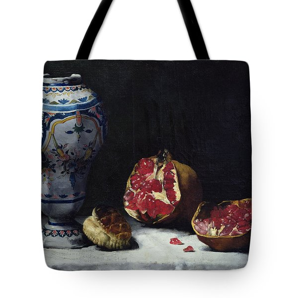 Still Life With A Pomegranate Tote Bag by Auguste Theodule Ribot