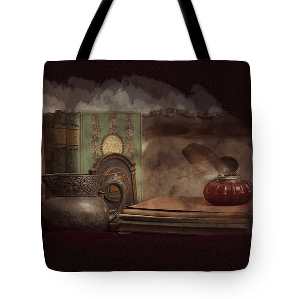 Tote Bag featuring the photograph Still Life With Antique Books, Silver Pitcher And Inkwell by Michele A Loftus