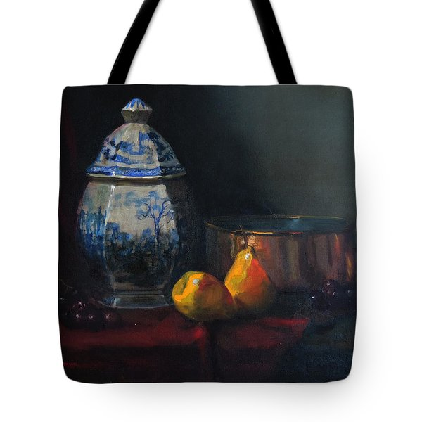 Tote Bag featuring the painting Still Life With Antique Dutch Vase by Barry Williamson