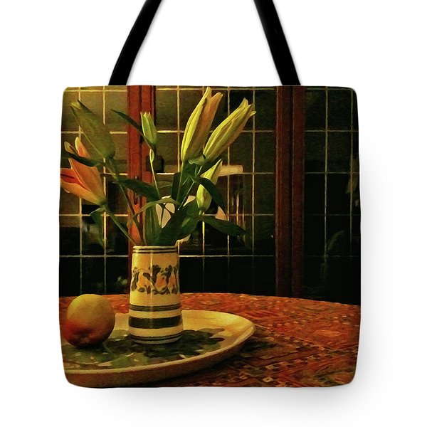 Tote Bag featuring the photograph Still Life With Apple by Anne Kotan