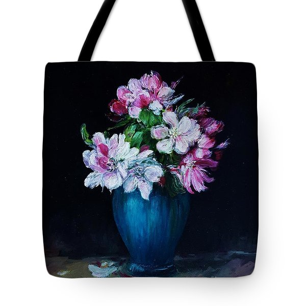 Still Life With Apple Tree Flowers In A Blue Vase Tote Bag