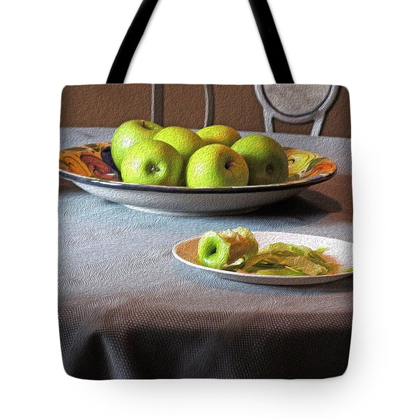 Still Life With Apples And Chair Tote Bag