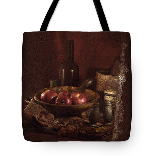 Still Life With Apples, Bottles, Baskets And Shakers. Tote Bag