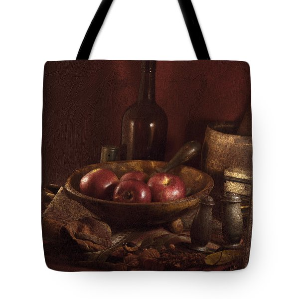Tote Bag featuring the photograph Still Life With Apples, Bottles, Baskets And Shakers. by Michele A Loftus