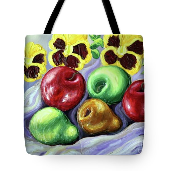 Tote Bag featuring the painting Still Life With Apples by Inese Poga