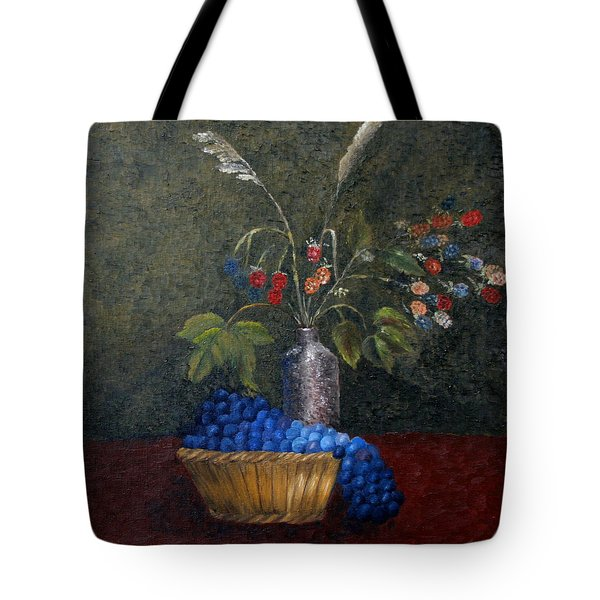 Tote Bag featuring the painting Still Life With Blue Fruit by Karin Eisermann