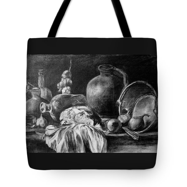 Tote Bag featuring the drawing Still Life With Bread by Mikhail Savchenko