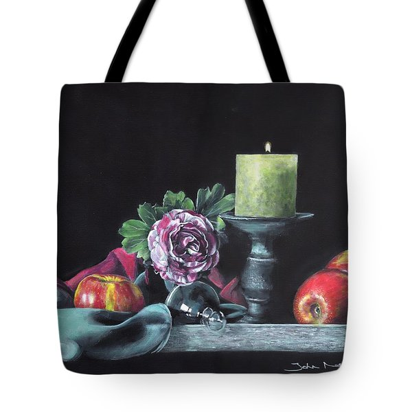 Tote Bag featuring the painting Still Life With Candle by John Neeve