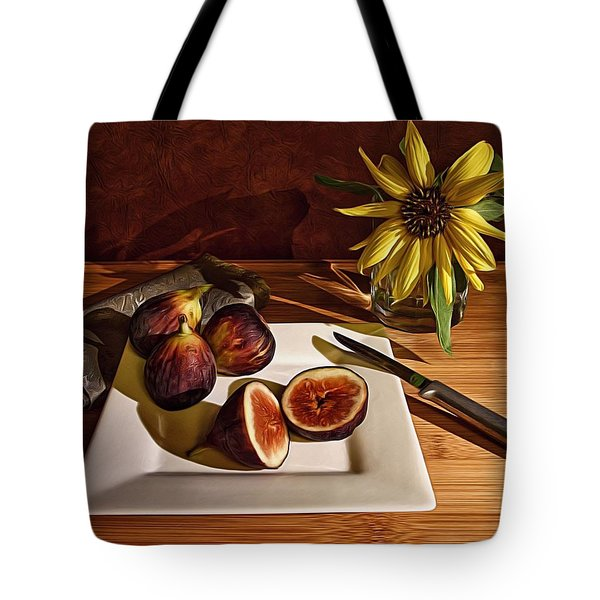 Still Life With Flower And Figs Tote Bag