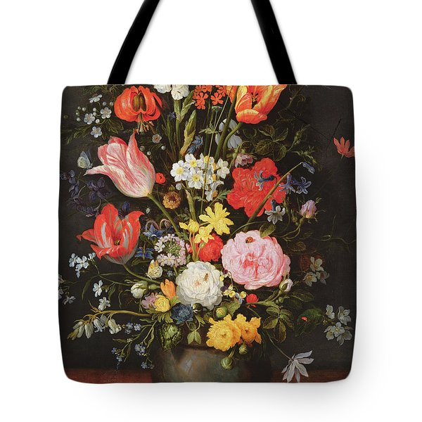 Still Life With Flowers And Strawberries Tote Bag