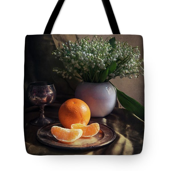 Tote Bag featuring the photograph Still Life With Fresh Flowers And Tangerines by Jaroslaw Blaminsky