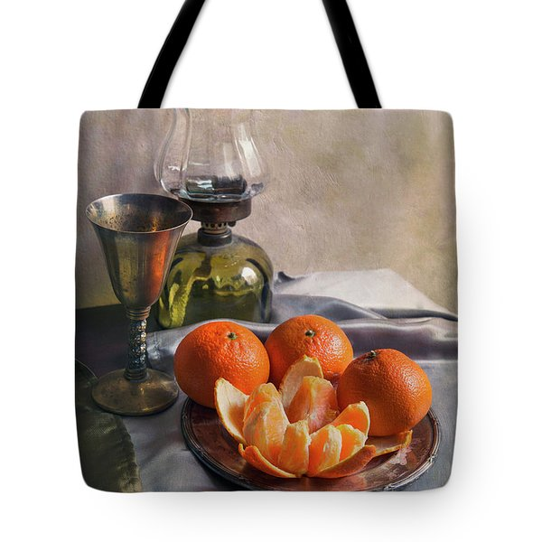 Tote Bag featuring the photograph Still Life With Fresh Tangerines And Oil Lamp by Jaroslaw Blaminsky