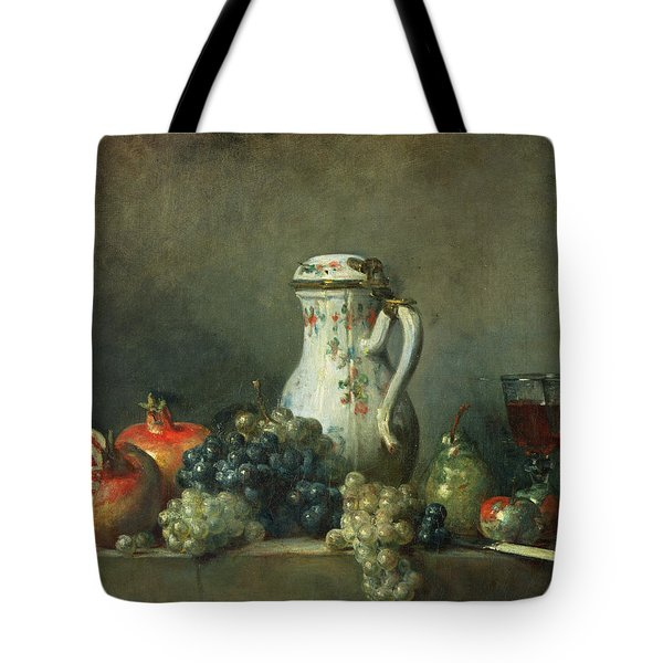 Still Life With Grapes And Pomegranates Tote Bag by Jean-Baptiste Simeon Chardin