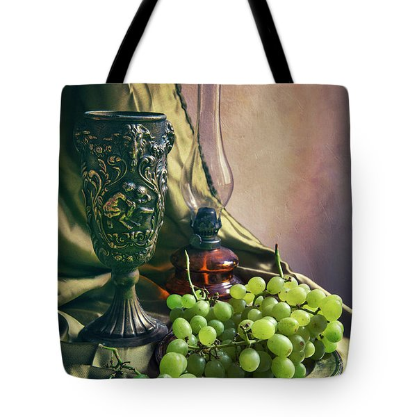 Tote Bag featuring the photograph Still Life With Green Grapes by Jaroslaw Blaminsky