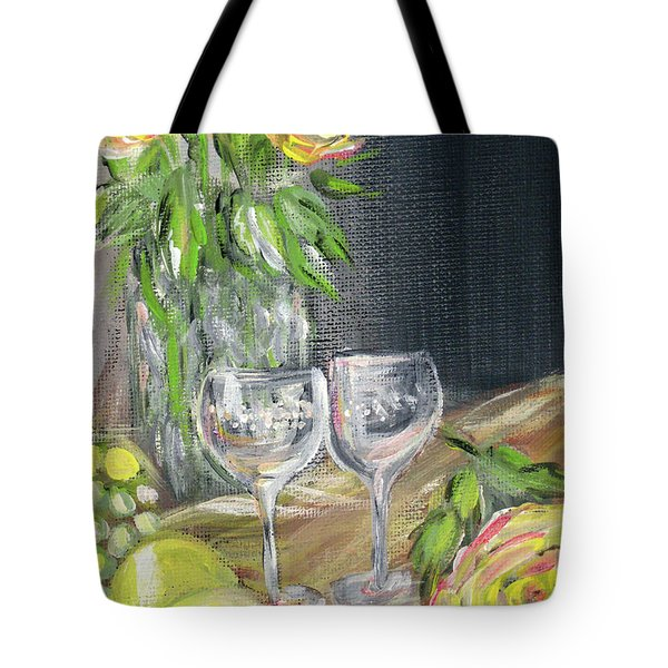 Still Life With Lemons, Roses  And Grapes. Painting Tote Bag