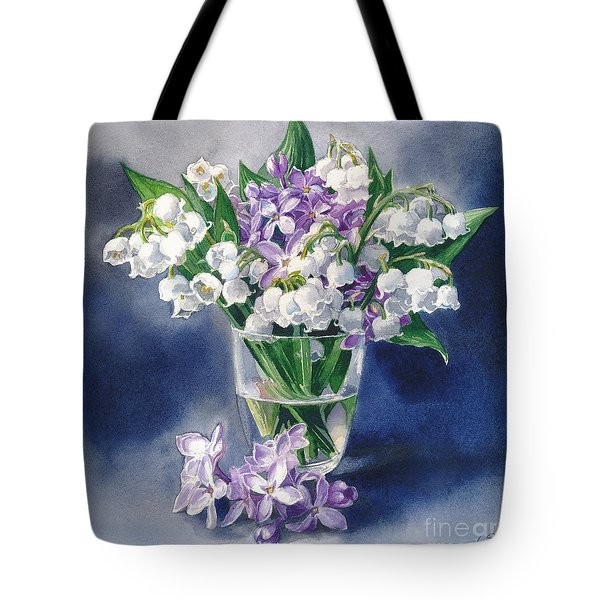 Still Life With Lilacs And Lilies Of The Valley Tote Bag