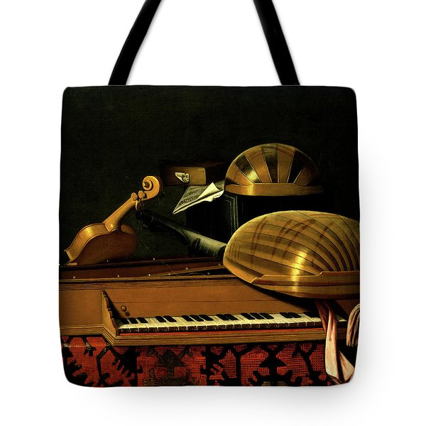 Still Life With Musical Instruments And Books Tote Bag