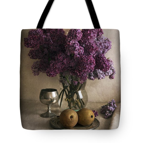 Tote Bag featuring the photograph Still Life With Pears And Fresh Lilac by Jaroslaw Blaminsky