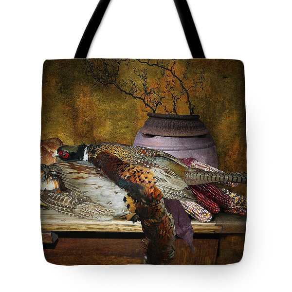 Still Life With Pheasants And Corn Tote Bag by Jeff Burgess