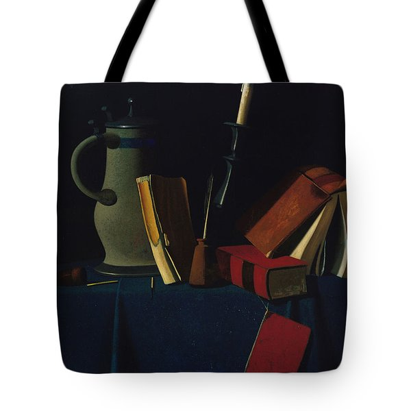 Still Life With Pitcher, Candle, And Books Tote Bag