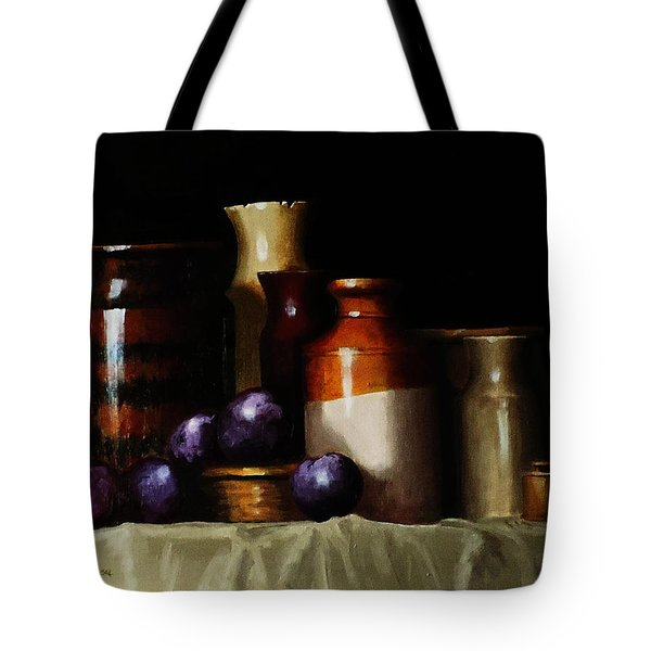 Tote Bag featuring the painting Still Life With Plums by Barry Williamson
