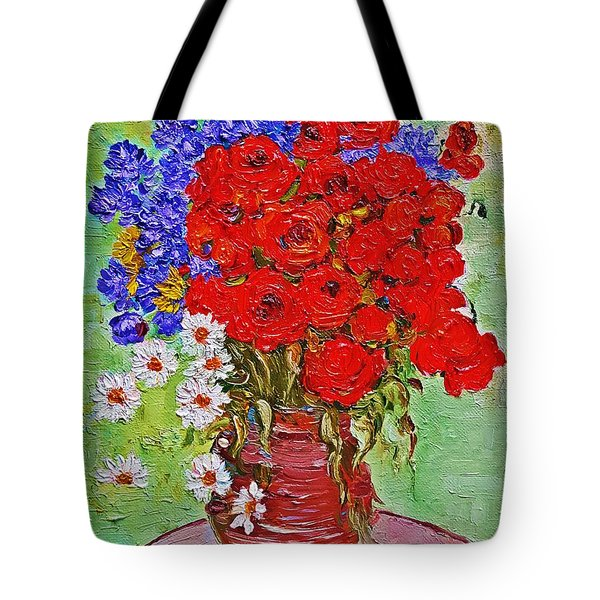 Still Life With Poppies And Blue Flowers Tote Bag