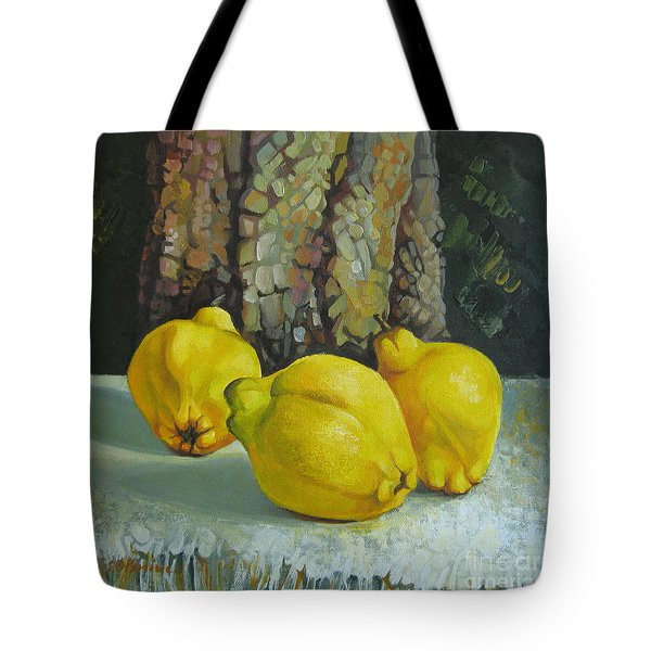 Tote Bag featuring the painting Still Life With Quinces by Elena Oleniuc