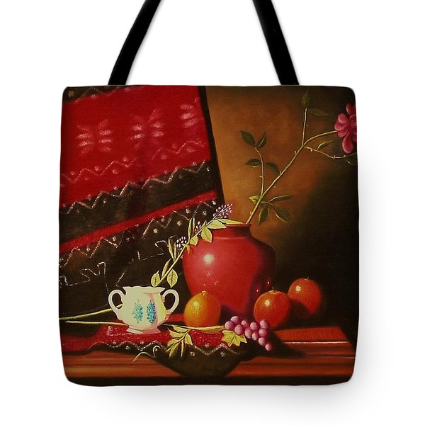 Still Life With Red Vase. Tote Bag