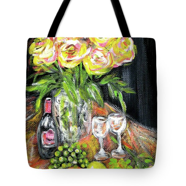 Still Life With Roses, Fruits, Wine. Painting Tote Bag