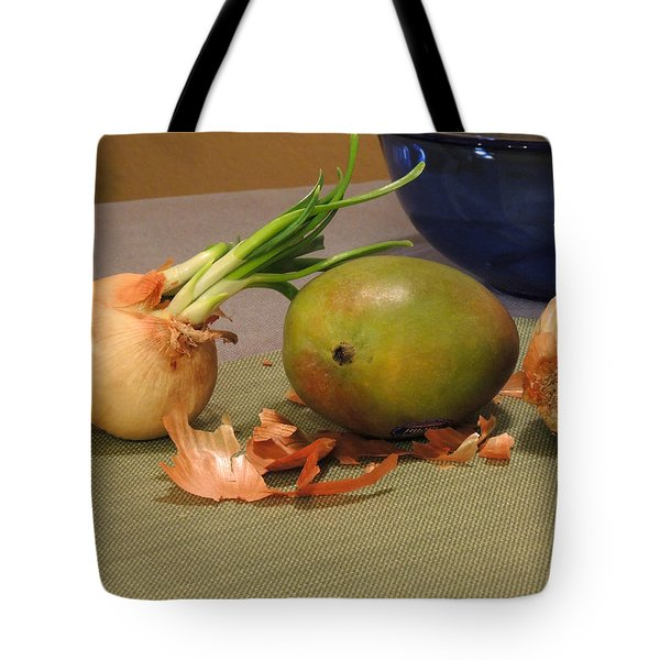 Still Life With Sprouted Onions And Mango Tote Bag