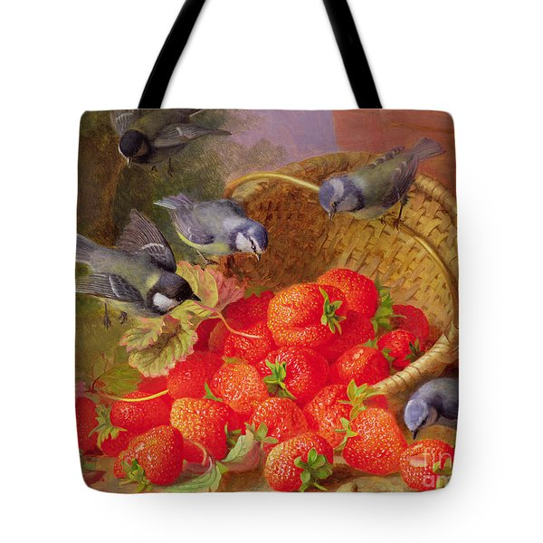 Still Life With Strawberries And Bluetits Tote Bag